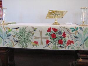 Hand-sewn (cross-stitch) alter cloth - St Barts